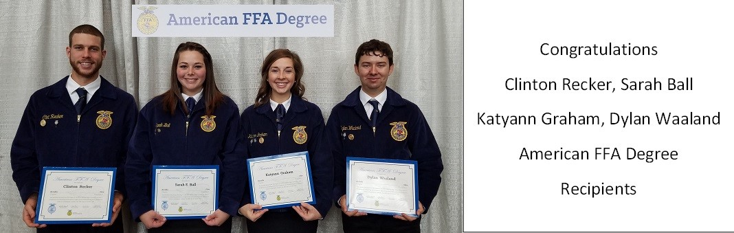 Picture of American FFA Degree Recipients Clinton Recker, Sarah Ball, Katyann Graham, and Dylan Waaland