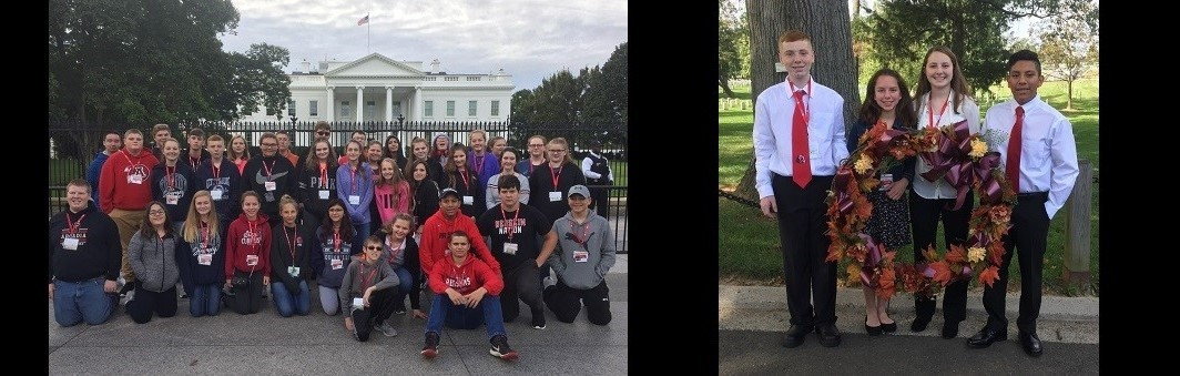 8th Graders in front of the Whitehouse and the Tomb of the Unknown Soldier