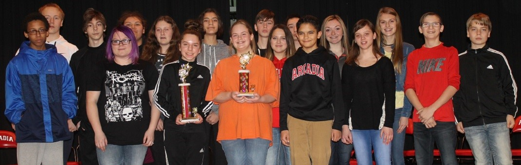 Middle School Spelling Bee Finalist. Winner Carolyn Stewart & Runner-Up Haley Morrow