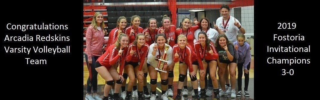 Congratulations Arcadia Redskins Varsity Volleyball Team 2019 Fostoria Invitational Champions 3-0,