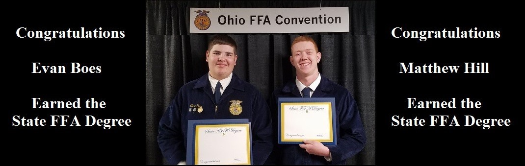 Congratulations to Evan Boes and Mathew Hill. They both earned the State FFA Degree