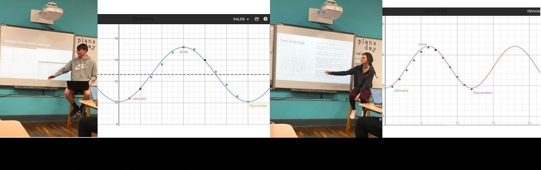 Kaleb Enders presented a trigonometric equation representing the daylight hours in Soul, South Korea and Reagan Pratt did the same for the daylight hours in Turin, Italy in Miss Barr's Pre-Calculus class.