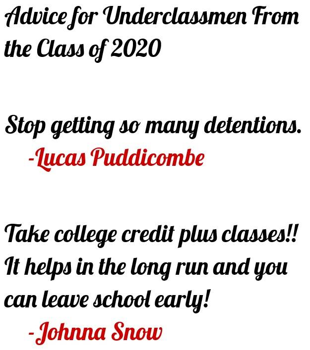 Puddicombe, Lucas 4 - Advice for Underclassmen From the Class of 2020