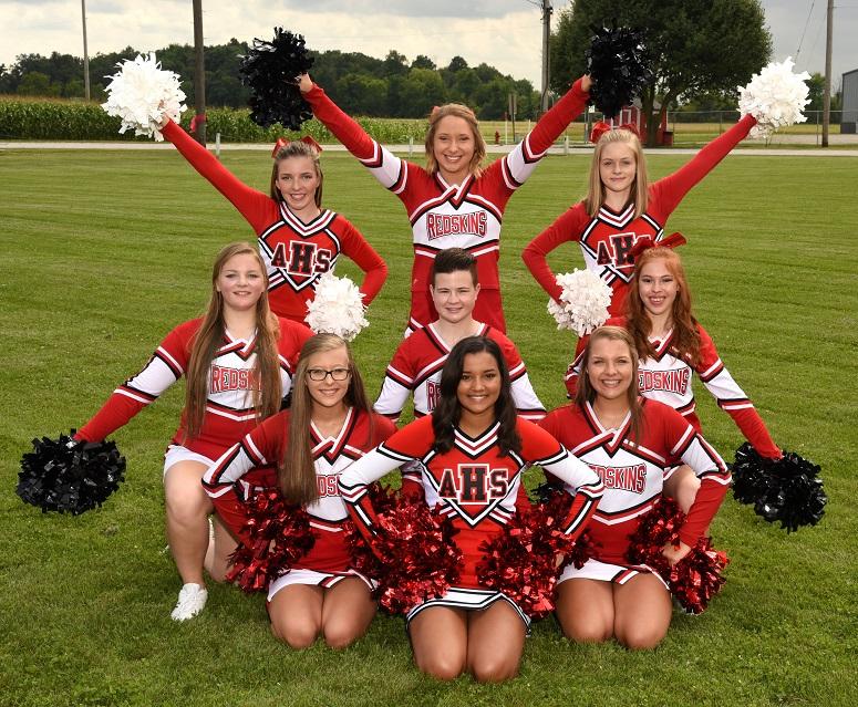 Arcadia Redskins 2017 Varsity Football Cheerleaders Squad Photo