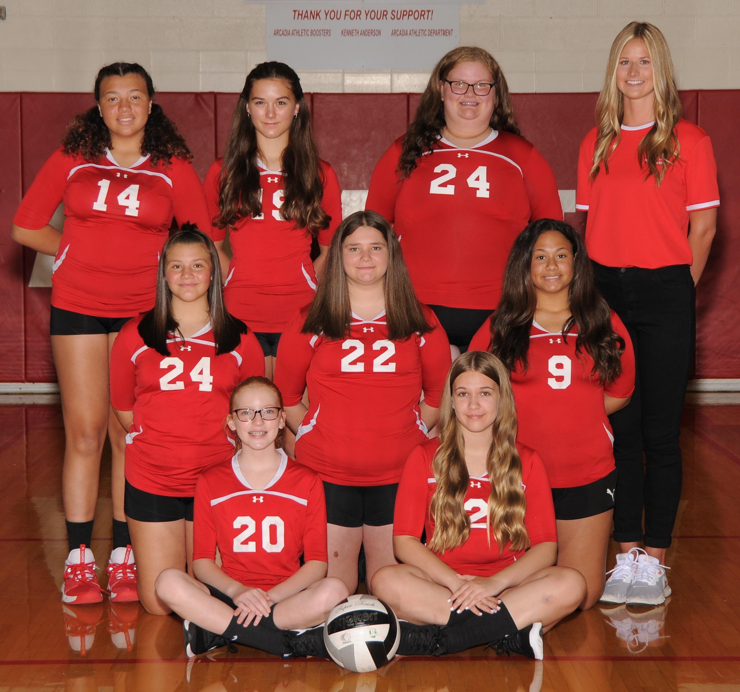 Arcadia Redskins 2020 8th Grade Volleyball Team Photo