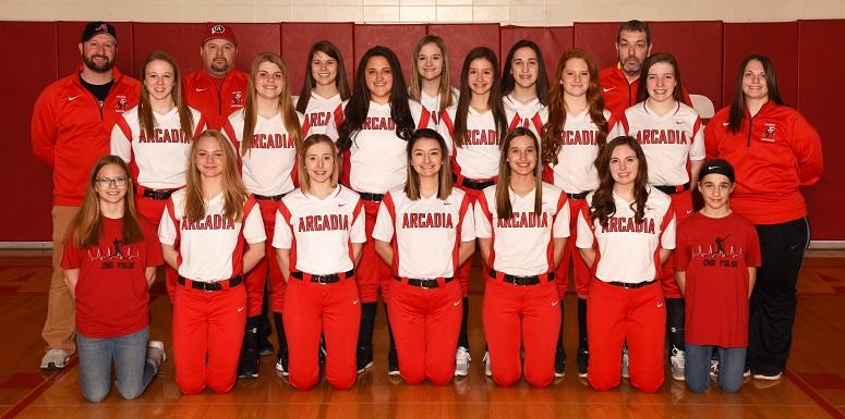 2018-19 Arcadia Redskins Varsity Softball Team Photo